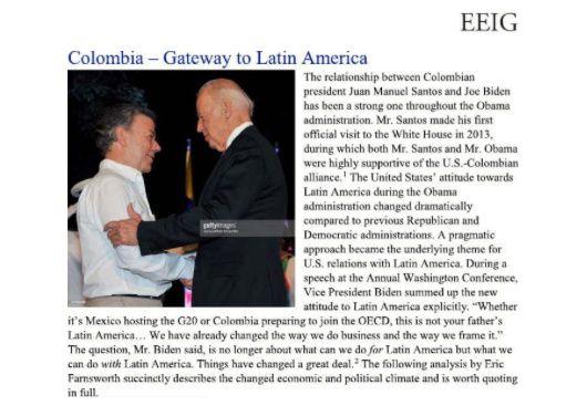 """Página de """"Colombia - Puerta a Latinoamérica"""" del documento en el que la empresa de Hunter Biden ofrecía yacimientos de petróleo colombianos a una compañía china."""