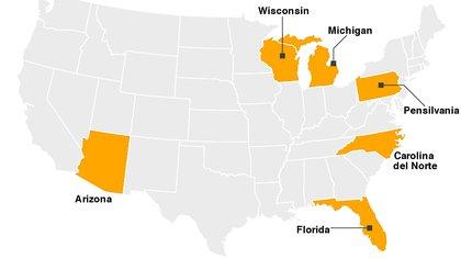 Los seis estados que hay que observar en la noche de los comicios: representan 101 de los 270 votos en el Colegio Electoral.