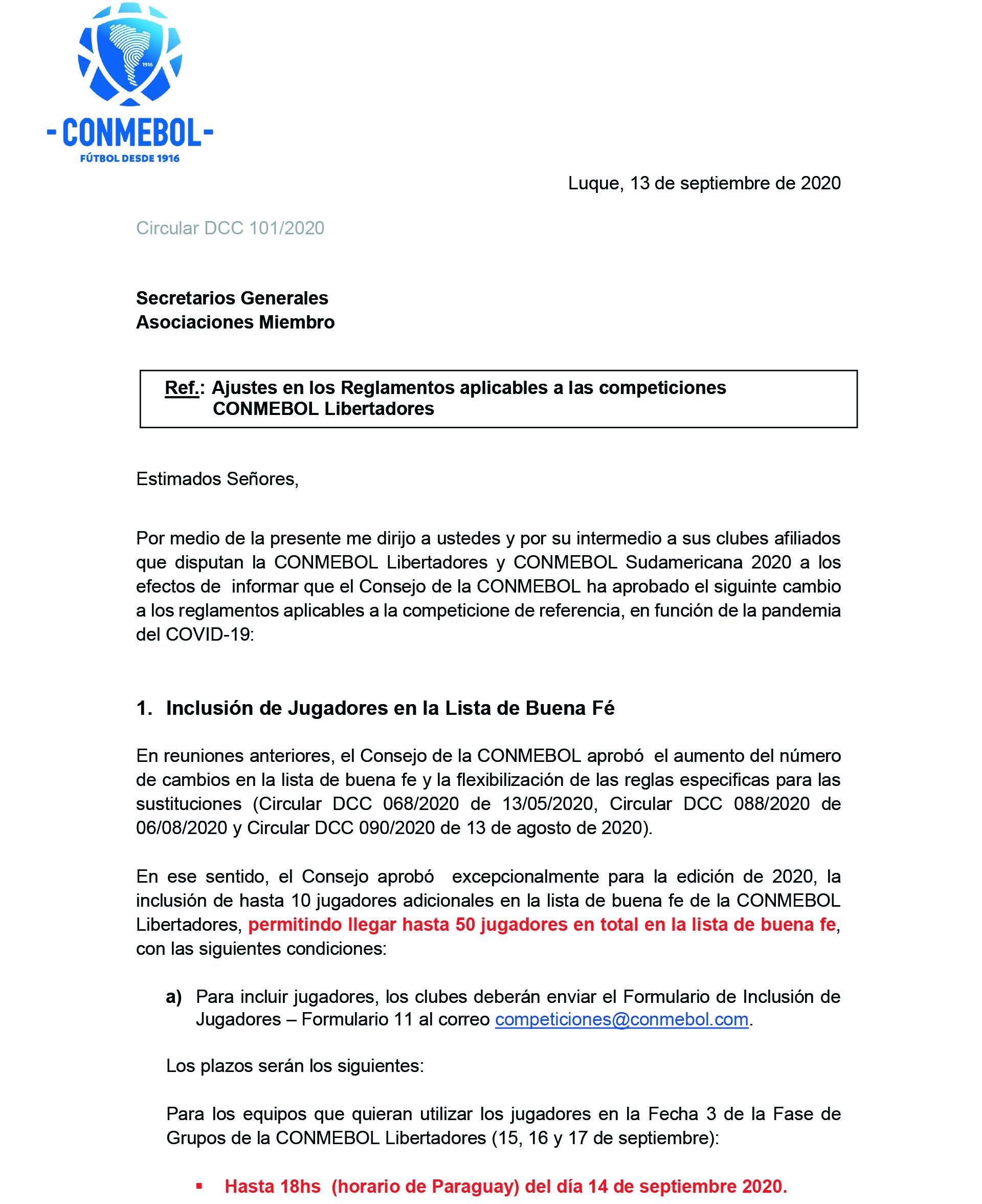La Conmebol amplió las listas de buena fe de 40 a 50 jugadores para las Copas Libertadores y Sudamericana