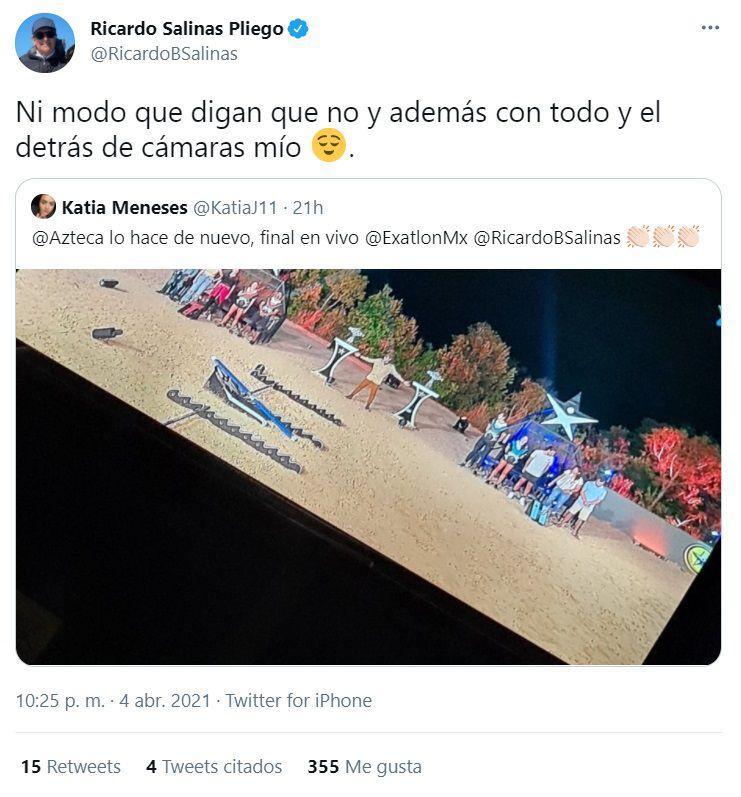 """Ricardo Salinas Pliego compartió su detrás de cámaras de la final de """"Exatlón"""" junto a su familia desde República Dominicana (Foto: Twitter / @RicardoBSalinas)"""