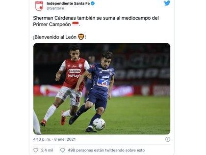 Independiente Santa Fe confirmó al mediocentro Sherman Cárdenas como refuerzo para competir en la temporada 2021 del fútbol profesional colombiano / (Twitter: @SantaFe).