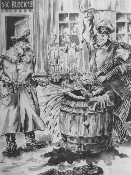 Una obra del artista polaco Wiktor Siminski, quien estuvo detenido en Sachsenhausen, sobre la tortura a manos de los SS, que Kulisiewicz encontró. (Museo del Holocausto de Washington DC, cortesía de Aleksander Kulisiewicz)