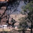 En la primera foto de la secuencia uno de los guerrilleros que copa el cuartel se arroja del edificio tomado (Eduardo Longoni)