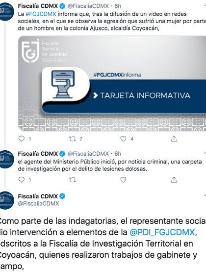 A través de su cuenta de twitter, la dependencia informó que agentes de la policía acudieron al lugar de los hechos a fin de recopilar información sobre el caso (Foto: Twitter)