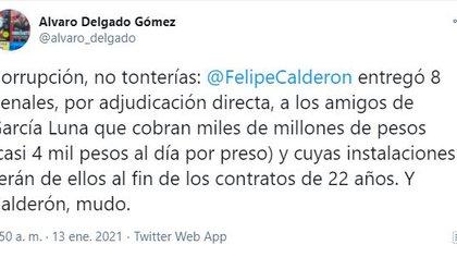 Tunden en redes a Felipe Calderón (Foto: Twitter / @alvaro_delgado)