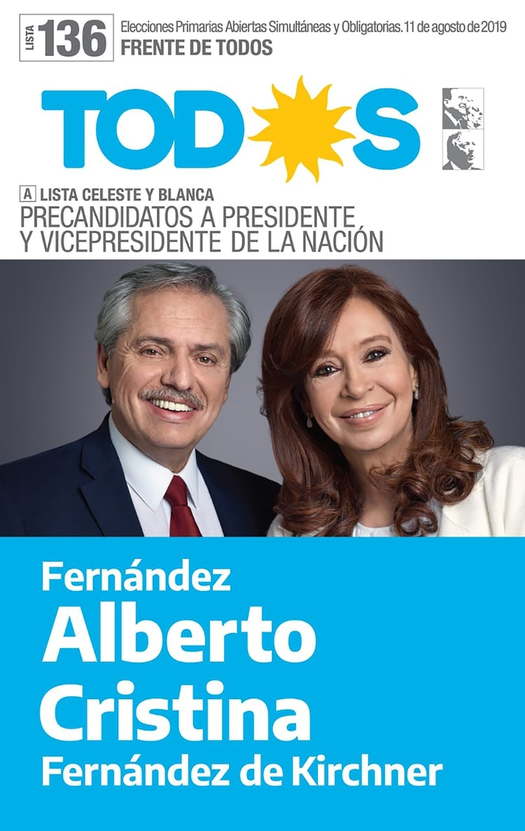 Boleta oficial de Fernández y Fernández de Kirchner: la fórmula opositora lleva ventaja en las PASO y en la primera vuelta a sus adversarios de Juntos por el Cambio