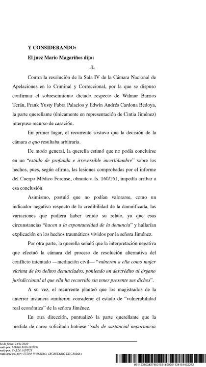 Parte de la resolución judicial que complica a Wilmar Barrios