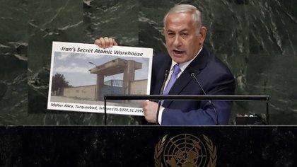 El primer ministro israelí Benjamin Netanyahu durante su discurso ante la Asamblea General de la ONU (AP)