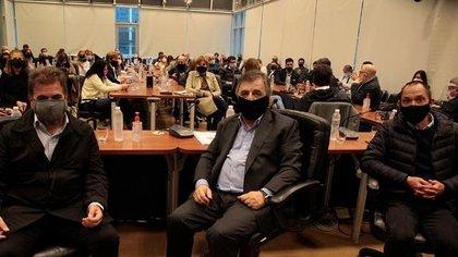 Los jefes de bloque de diputados de Juntos por el Cambio: Cristian Ritondo, Mario Negri y Maximiliano Ferraro