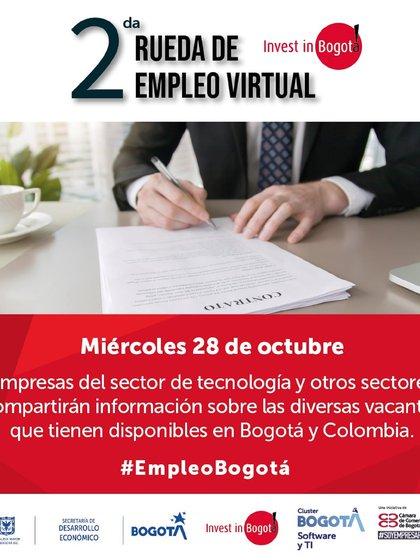 En la Segunda Rueda de empleo virtual de Invest In Bogotá se anunciarán 4.000 vacantes de empleo. Foto: Invest In Bogotá.