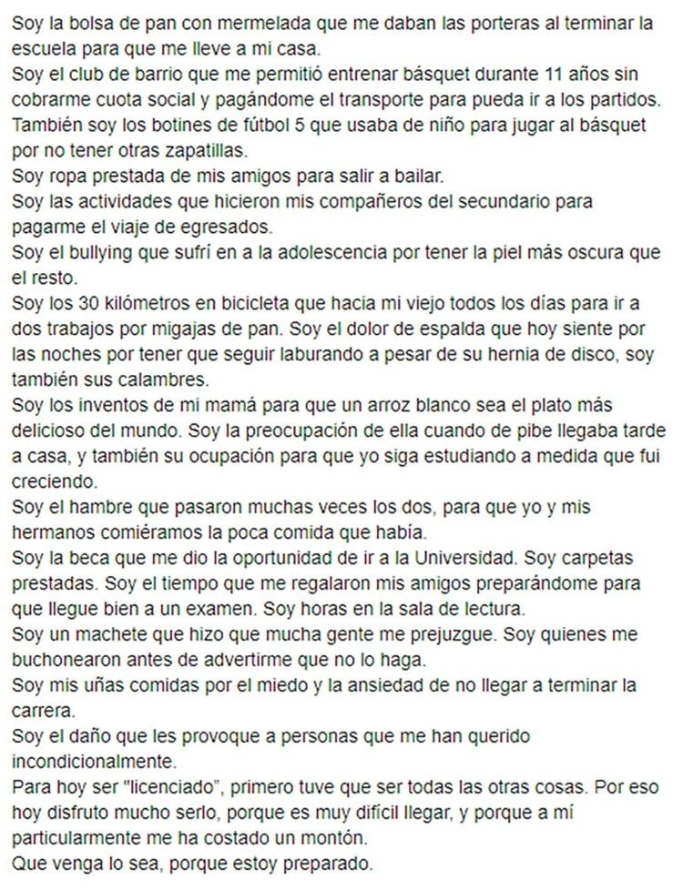 """La carta que publicó en sus redes sociales y que ya lleva más de decenas de miles de """"likes"""""""