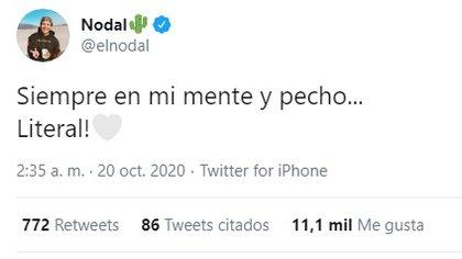 El romántico mensaje de Nodal