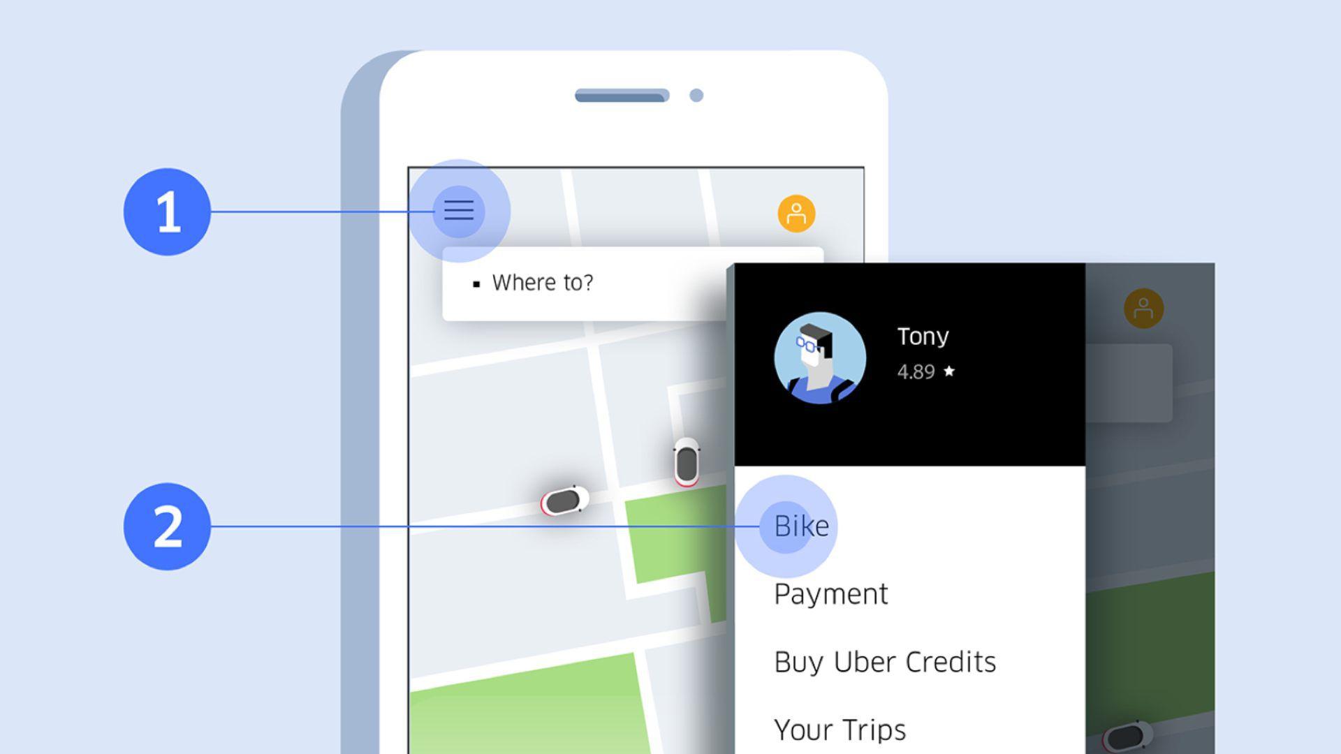 La misma aplicación que se usa para hacer viajes en autos servirá para usar las bicicletas sin anclaje (Foto: Uber)