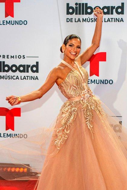 La cantante española Natalia Jiménez presentó la alfombra roja (Foto: EFE/Giorgio Viera)