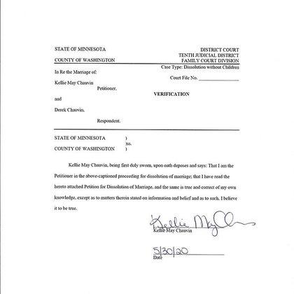 Documento de la solicitud de divorcio
