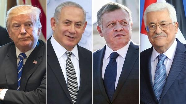 Donald Trump, Benjamin Netanyahu, Abdalá II y Mahmud Abbas