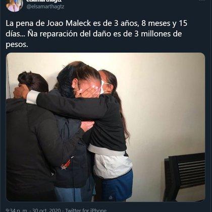 Diana Robles, madre de Joao llora al conocer la sentencia (Captura de pantalla: Twitter)