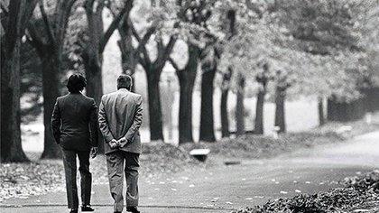 Los expresidentes Carlos Menem y Raúl Alfonsín