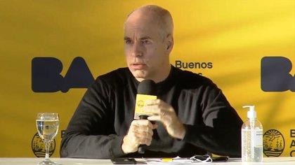El jefe de Gobierno porteño, Horacio Rodríguez Larreta, durante una conferencia de prensa