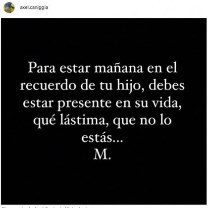 El texto que publicó Axel Caniggia (Foto: Instagram)