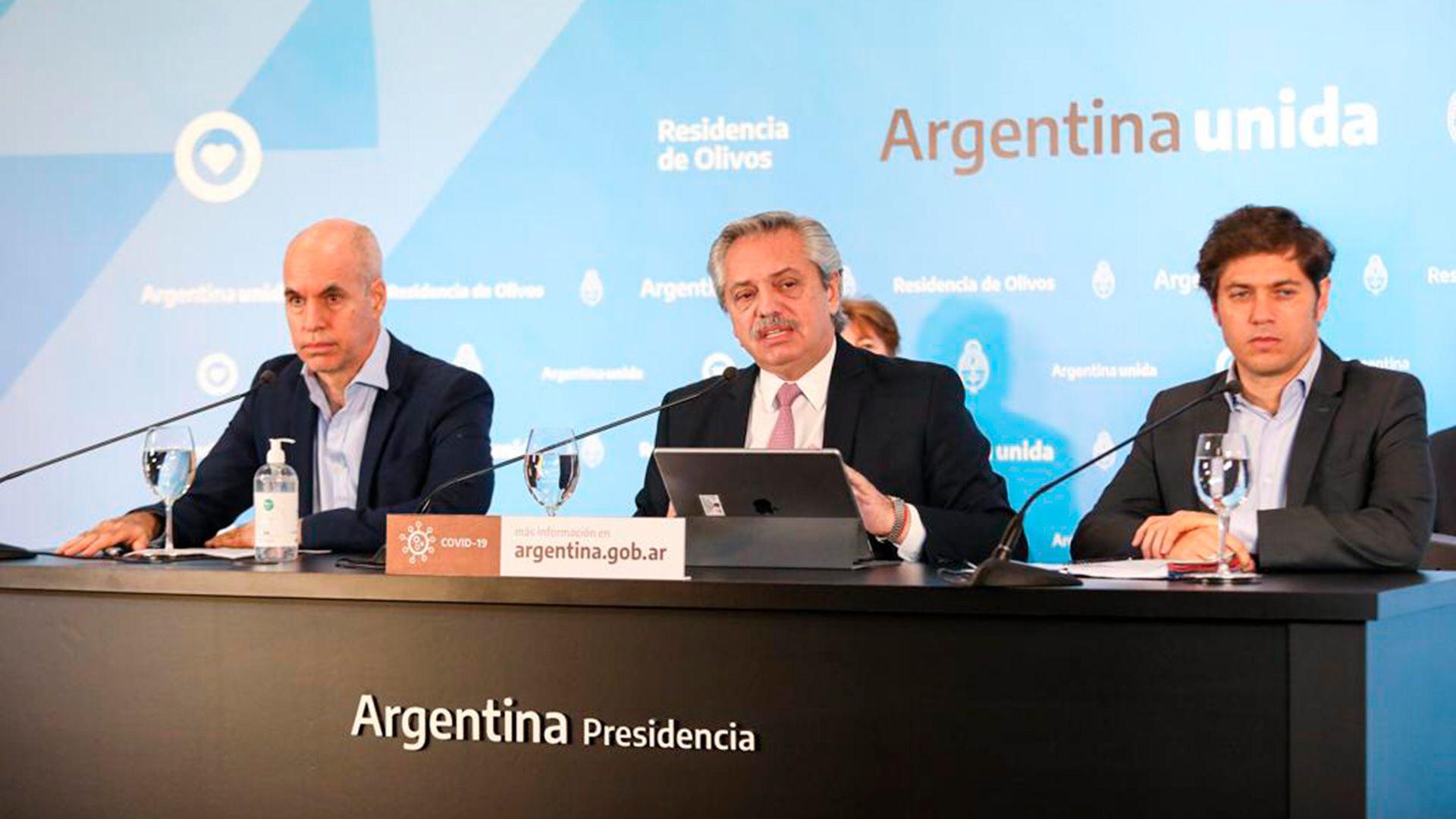 Rodríguez Larreta, Fernández y Kicillof en el anuncio