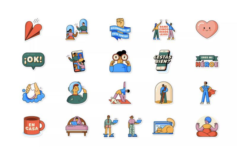 """Juntos en casa"" uno de los packs de stickers animados disponibles en WhatsApp"
