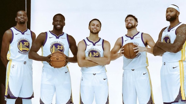 Los Monstars: Kevin Durant, Draymond Green, Stephen Curry, Klay Thompson y DeMarcus Cousins