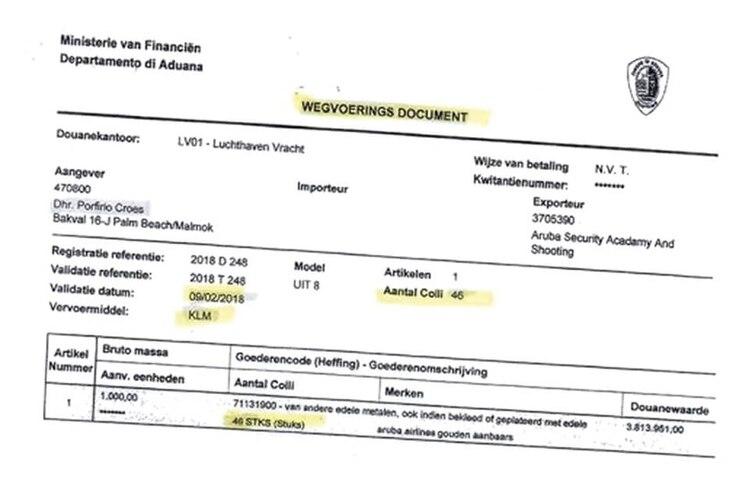 Certificado de transporte del cargamento de oro que saldría el vuelo KLM para Holanda en 9 de febrero de 2018