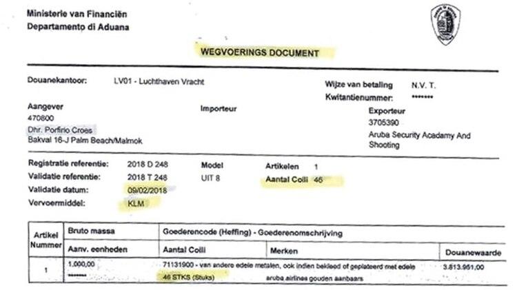 Certificado de transporte del cargamento de oro que saldría el vuelo KLM para Holanda el 9 de febrero de 2018 (Crédito: runrun.es)