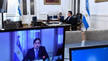 Sergio Massa en el arranque de la reunión de comisión, la primera en la historia del Congreso