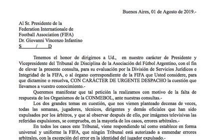 Documento: la misiva enviada a Infantino por parte del Tribunal de Disciplina de la AFA ante la falta de respuestas de los organismos de la Conmebol.