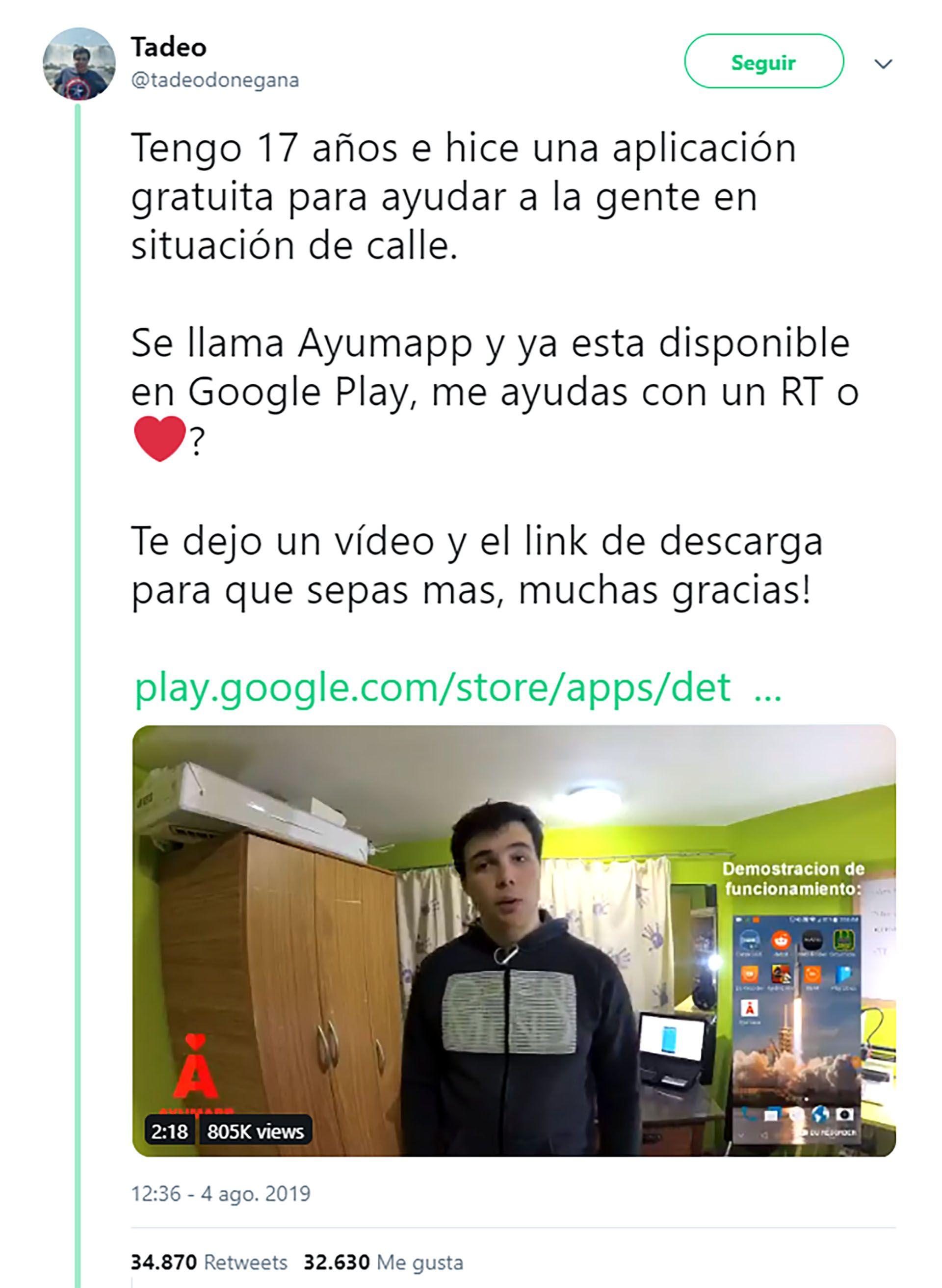 El tuit viral de Tadeo Donegana, el argentino de 17 años, contando de su app Ayumapp
