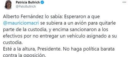 El último tuit de Patricia Bullrich sobre la custodia de Macri