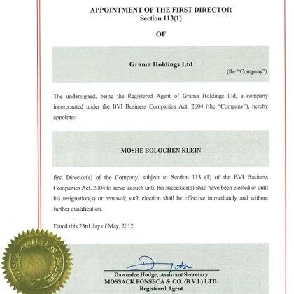 La documentación provista por Grama Holding identifica a Moshe Klein como director y beneficiario final. No menciona su verdadero nombre, Raul Koler, ni su nacionalidad argentina.