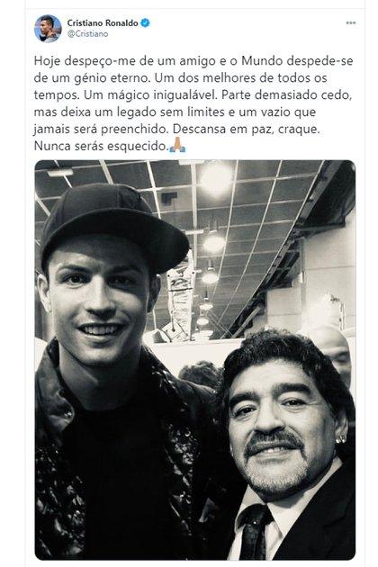 La despedida de Cristiano Ronaldo a Maradona (@Cristiano)