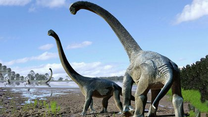 Recreación de titanosaurios (Crédito de la imagen: National Geographic)