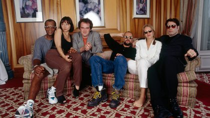 """Tarantino y el elenco de """"Pulp Fiction"""" en Cannes (Getty Images)"""