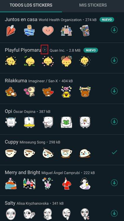 Los stickers animados están disponibles en Android