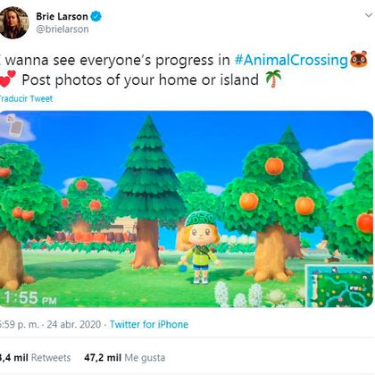 """La actriz Brie Larson (Capitana Marvel) invita a jugadores a compartir sus progresos en """"Animal Crossing"""""""