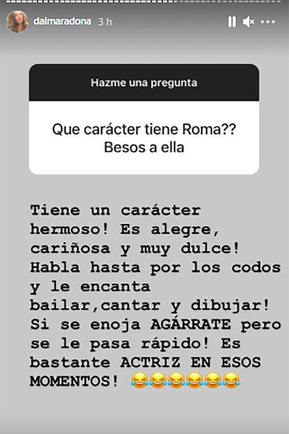 Dalma Maradona contó cómo es el carácter de su hija Roma Caldarelli Maradona (Foto: Instagram @dalmaradona)
