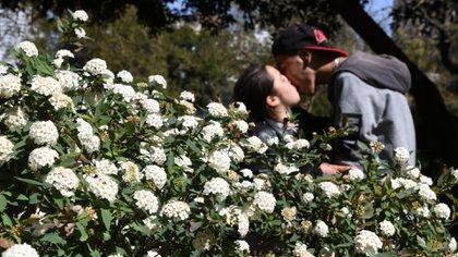 No solo las familias y amigos fueron a festejar el Día de la Primavera, sino también las parejas fueron a festejar la llegada del clima templado