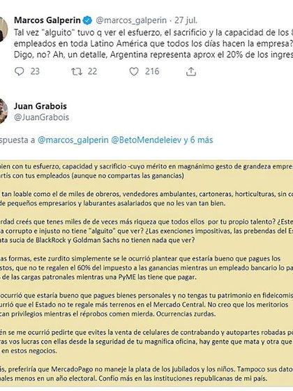 El tenso ida y vuelta entre Grabois y Galperín en Twitter.