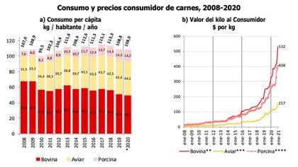 """El trabajo de Garzón y Torre muestra la evolución del consumo y precio por kilo de los tres tipos de carne entre 2008 y 2020. La de pollo fue la gran ganadora en la """"mesa de los argentinos"""""""