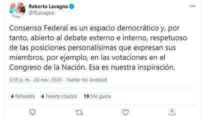 El primero de los tuits de Lavagna