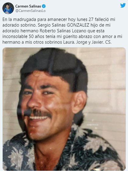 Su sobrino Sergio Salinas también perdió la vida en 2020 (Foto: Captura de pantalla)