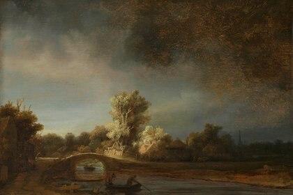 """Rembrandt van Rijn, """"Paisaje con un puente de piedra"""", ca.1638"""