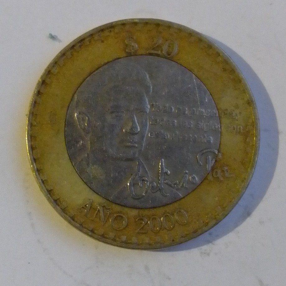 Moneda 20 Pesos año 2000 Octavio Paz (Foto: Twitter@LaBase126)
