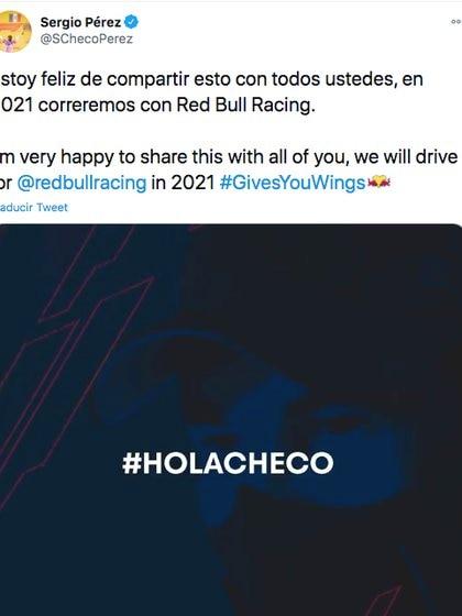 El mensaje de Checo Pérez tras su llegada a Red Bull. (Foto: Captura de pantalla)