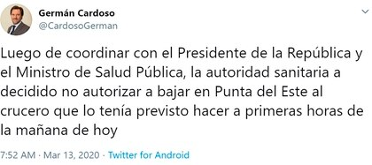 El tuit de Germán Cardoso