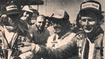 Los tres primeros: de izquierda a derecha, Jacques Laffite (2º), Carlos Reutemann (1º) y Niki Lauda (3) (Archivo CORSA).